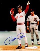 Pete Rose autographed signed 8x10 photo MLB Cincinnati Reds PSA COA Hit King