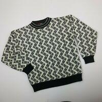 Vintage Todays News Knit Sweater Men's Size Medium Black and White Zig Zag 80's