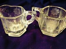 Beautiful Vintage Clear Pressed Glass Etch Flowers Sugar Bowl and Creamer Set