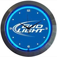 """Budweiser  Neon Clock Sign  Bud Light Beer Open Bar glass face 15"""" Quartz clock"""