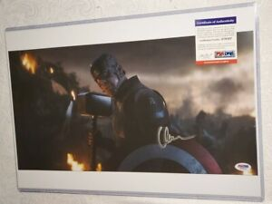"Chris Evans Signed 12 x 18 Photo PSA DNA "" Captain America Lifts Thor's Hammer """