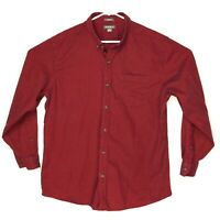 Eddie Bauer Red Long Sleeve Button Down Shirt 100% Cotton Men's Size XL EUC