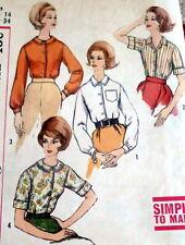 LOVELY VTG 1960s BLOUSE Sewing Pattern 14/34