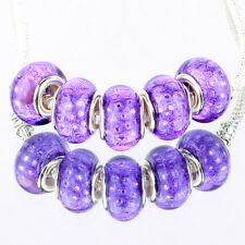 Bling plaid purple 5pcs MURANO bead LAMPWORK For European Charm Bracelet