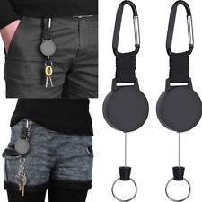 2 Packs Retractable Key Tool Reel Holder Steel Clip Chain Belt Heavy Duty Split