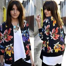 Fashion Casual Jacket Long Sleeve Floral Zipper Blazer Suit Outwear Jackets Coat