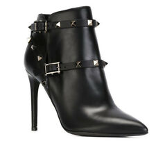 Womens Rivet Pointed Toe Buckle Gladiator High Heels Ankle Boots Stilettos Shoes