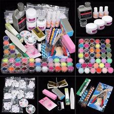 42Acrylic Nail Art Tips Powder Liquid Brush Glitter Clipper Primer File Set M1EG