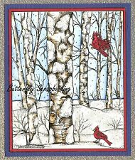 WINTER BIRCH TREES WITH CARDINAL Wood Mounted Rubber Stamp NORTHWOODS P10158 New