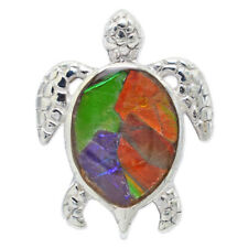 Ammolite Turtle Pendant Necklace by Stones Desire