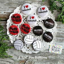 """12 Volleyball Pins 1 1/4"""" PINBACK Buttons Team Player Party Favor USA NEW"""