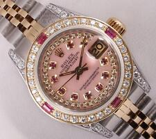 Rolex Lady Datejust 2 Tone-Pink MOP String Diamond Dial-Ruby Diamond Bezel & Lug