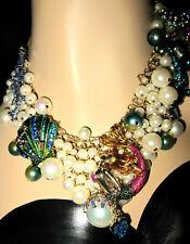 Betsey Johnson Glitter Reef Gold Tone Mermaid & Sea Shell Necklace Bb210