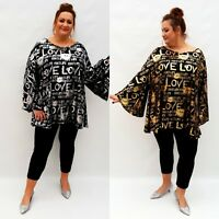 Plus Size Shiny Top Tunic Lagenlook Blouse Long Sleeve Glamor Glitter Wolfairy