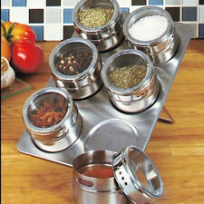 6x Magnetic Spice Storage Container Jar Tins With Rack Holder Stainless Steel