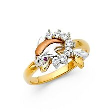 Dolphin Ring CZ Solid 14k Yellow White Rose Gold Band Fish In Ring Stylish Fancy