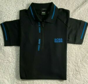NWT Hugo Boss Men Zip Polo Black Navy White Blue S,M,L,XL,2XL