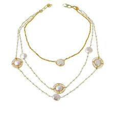 """Rarities Cultured Freshwater Pearl & Pyrite Multi-Strand 16"""" Necklace"""