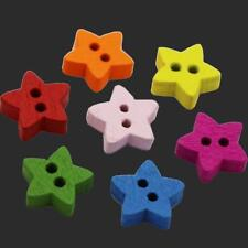 100pcs 2 Hole Star Wood Buttons Sewing Scrapbooking Clothing Home Decor 13mm