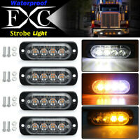 4x 4LED Strobe Light Flashing Hazard Beacon Warning Car Truck ATV Amber/White