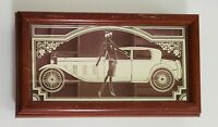 Vintage Wooden Jewelry Box Etched Glass Hinged Lid 1920' Rolls Royce/Lady/Grape