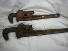 "Ridgid Pipe Wrench Set- 2 Drop Forged Steel Wrenches Early 18"" and 14"" Gc!"