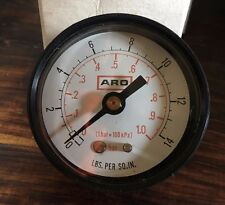 "Aro Airline Pressure Gauge 0-14 PSI Rear connection 3/8"" Fine Thread"