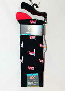 New GOLD TOE Men's 9-11 Fashion Crew Sock 3-Pack Style G6736P3 Flag Argyle Solid