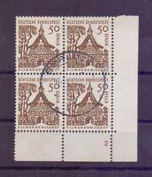Berlin Bauwerke 1964 - 50Pf MiNr 246 Eckrand-4erBlock Formnummer gestempelt (048