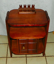 Mid Century Solid Walnut Smoke Stand / Humidor with 4 Pipe Holder  (HD193)
