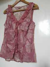 Dusky Pink Floral Silk Mix Monsoon V Neck Frilly Top in Size 14