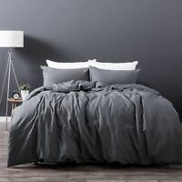 Slate Grey Linen Cotton Vintage Wash Soft 225TC Quilt Doona Cover Set QUEEN KING