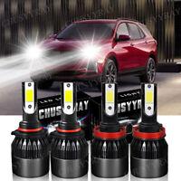 4x Luces Fuertes For Auto Coche Luz Carro Bulbs 9005 + H11 LED Super Blanco Kit