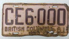 1961 BRITISH COLUMBIA Canada License Plate CE6-000