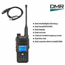 Retevis RT82 Digital Dual Band UHF+VHF DMR Ham Radio 5W 3000CH+Programming Cable