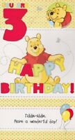 Disney Winnie The Pooh 3rd Birthday Card With Badge Cardspark & Envelope