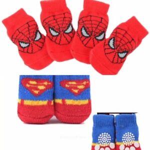 4 SPIDER-MAN SUPERMAN SPIDER MAN SOCKS PUPPY DOG SOFT WARM ANTI SLIP BOOTIES NEW