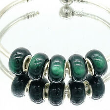 5pcs Silver Cat's Eye European Charm Beads Fit Necklace Bracelet DIY V239