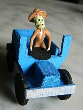 Day of the Dead Minature Clay Skeleton Blue Model T Automobile Driver -Mexico