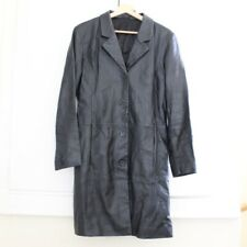 Real Leather Size 12 Coat Jacket Black Long Mid Length Fitted Blazer Genuine