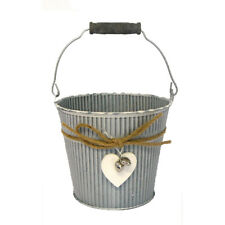 Zinc Bucket Whitewashed with Wood and Metal Hearts Detail 12cm