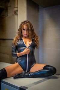 Sexy Black PVC Wet-Look Faux Leather Zip Romper Bodysuit Dress M #6417