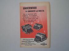 advertising Pubblicità 1951 MACCHINA PER SCRIVERE UNDERWOOD