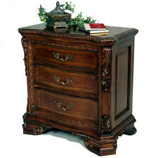 Vintage Victorian Old World Ornate 3 Drawer Cherry Nightstand - Hidden Storage