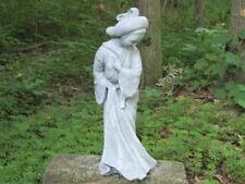 "14"" Cement Geisha Girl Concrete Garden Art Statue Antiqued Grey and White Asian"