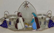 Stained Glass NATIVITY SCENE CANDLE HOLDER & 3 Tealight Glass Cups