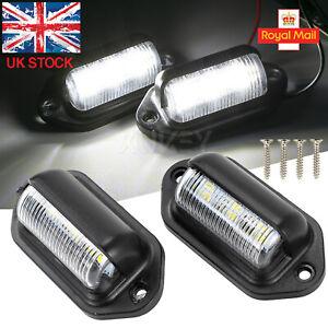 2x 6led White LED Rear Tail License Number Plate Light Lamp Car Truck Trailer UK