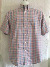 Roundtree & York Travel Smart Size M Plaid Short Slvd Blue/White + Multi Shirt