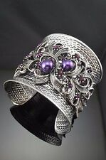 Antique Metal Silver Tone Purple Faux Pearl Blooming Shape Crystal Cuff Bracelet