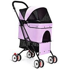 Pets Stroller Portable for Cat Dog Cage Stroller Travel Folding Carrier Pink